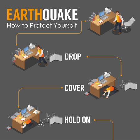 Isometric Earthquake Infographic Poster