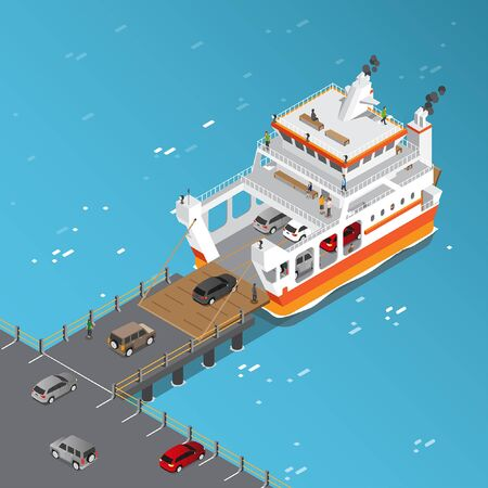 Isometric view of Ferry Ship Loading vehicles