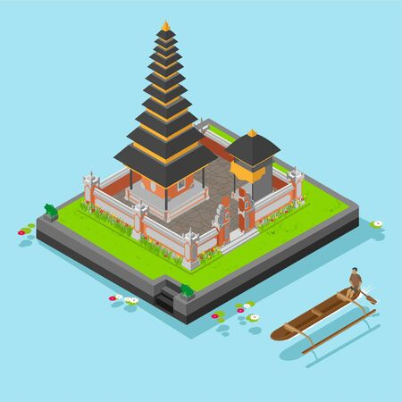 Isometric Ulun Danu Temple	at Bali Island