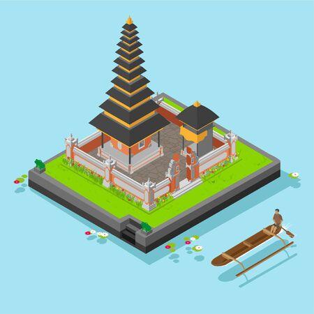 Temple isométrique d'Ulun Danu à l'île de Bali