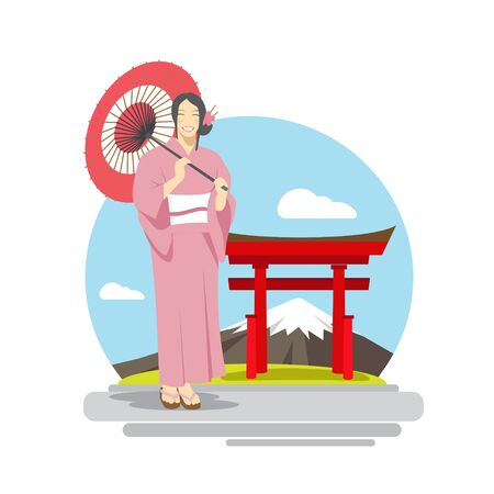 Japanese Woman with umbrella in front of Mount Fuji Background