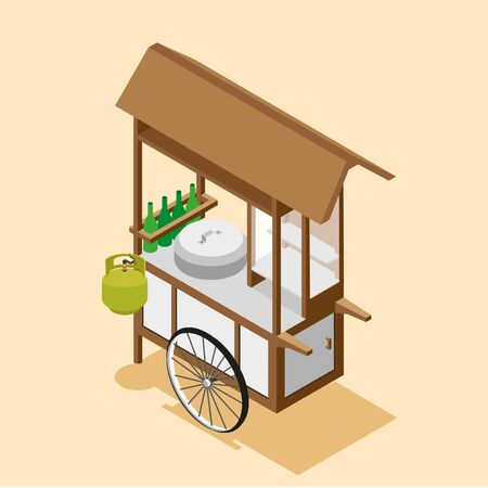 Isometric Indonesian Food Cart