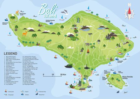 Mappa dell'isola di Bali con dettagli Vettoriali