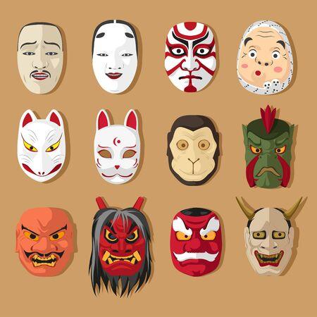 Japanese traditional mask set