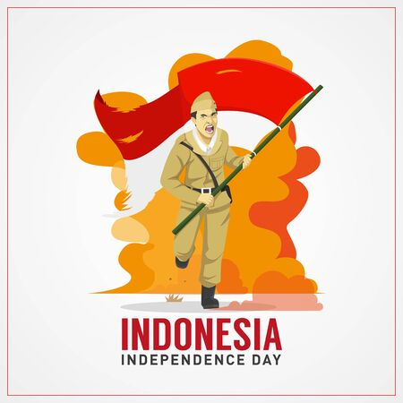 Indonesia independence day greetings card with hero carrying flag background Illustration