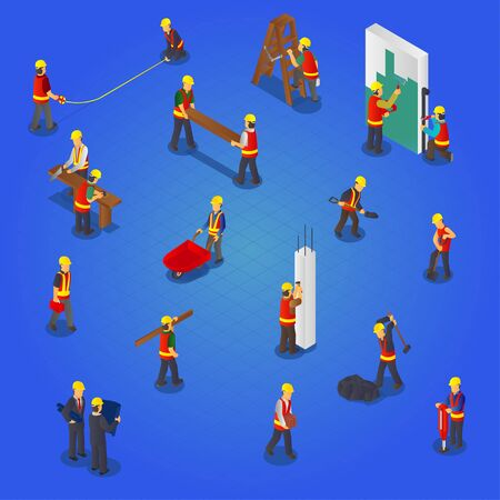 Isometric builders construction workers collection set Ilustração