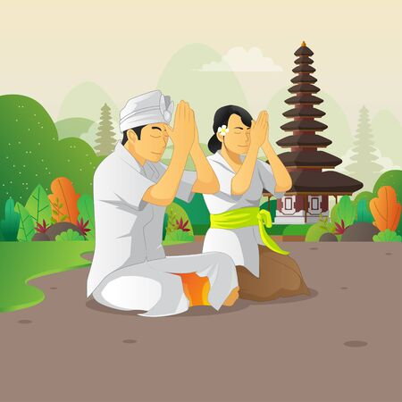 Balinese man and woman praying on the silent day celebration Vecteurs