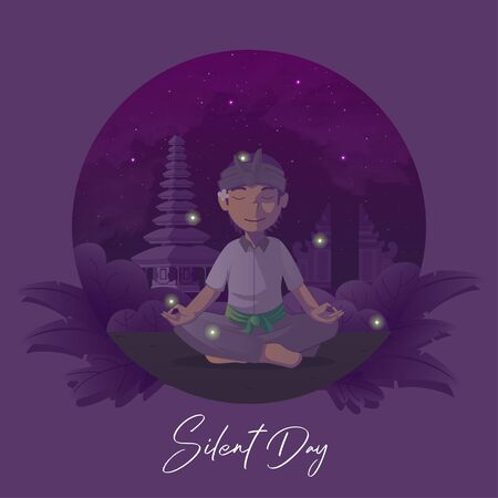 Balinese silent day greeting card with meditate man background