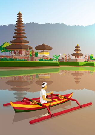 Ulun danu temple with balinese man ride traditional boat at bali Indonesia poster