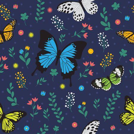 Seamless floral butterfly pattern Vektorové ilustrace