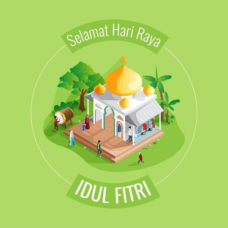 Eid al fitr mosque greeting card in isometric view Vettoriali