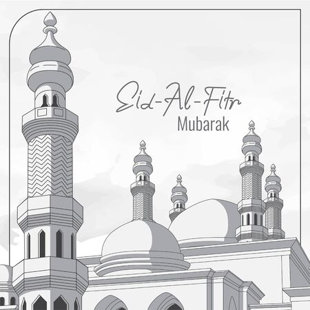 eid al fitr greeting card with mosque background