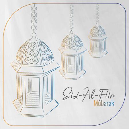 Eid al fitr greeting card with hand drawn arabic lamp background