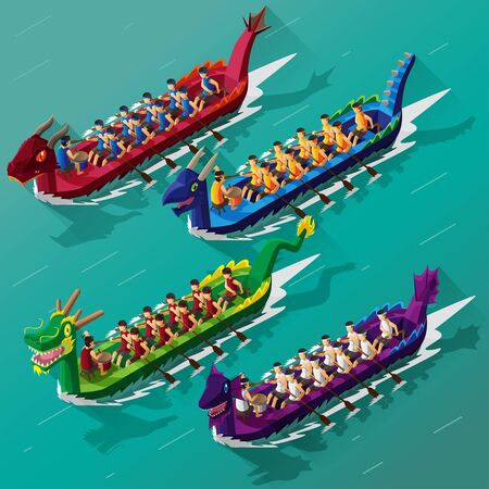isometric view of dragon boat race festival Vettoriali