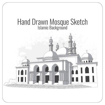 hand drawn vector mosque sketch background Vettoriali