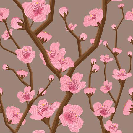 Seamless cherry flower vector pattern Vettoriali