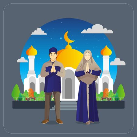 eid al fitr greetings card with muslim couple in front of mosque Vettoriali