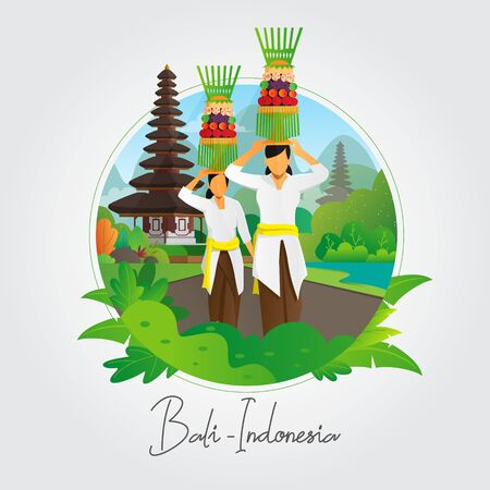 Balinese women carrying offering vector background