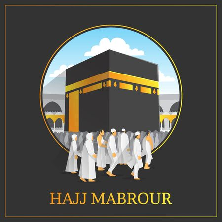 Hajj Mabrour background with holy kaaba and people Vettoriali