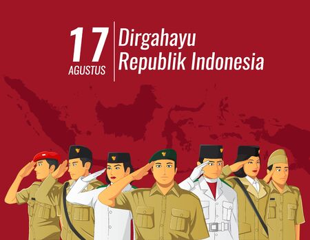 Indonesian Independence banner with saluting people