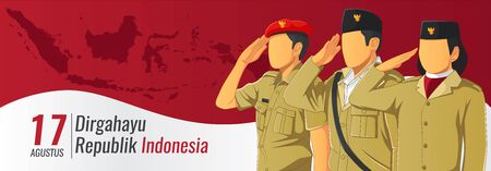 Indonesian republic independence day banner Vettoriali