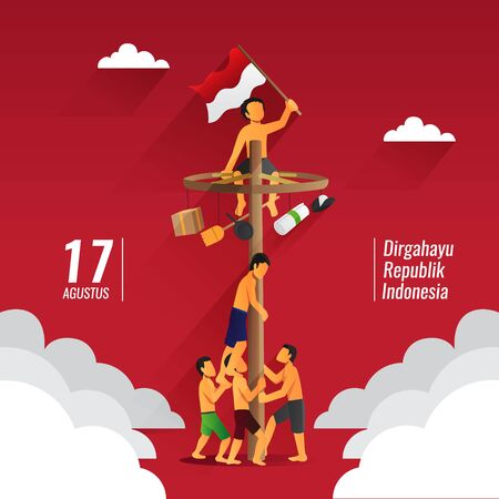 Indonesia traditional games during independence day, panjat pinang, pole climbing Vettoriali