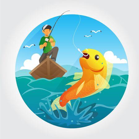 Open sea fishing vector illustration