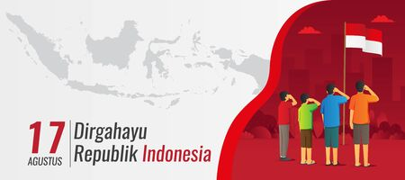 Indonesia Independence day banner with saluting kids Vettoriali