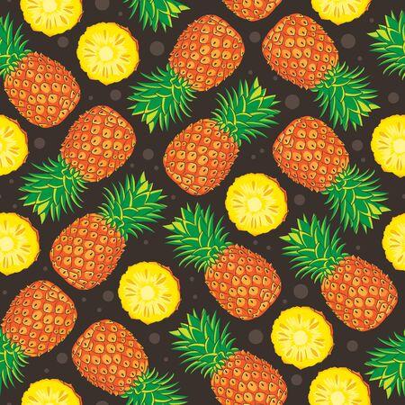pineapple fruit seamless vector pattern