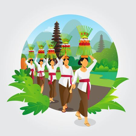 Balinese galungan ceremony vector background