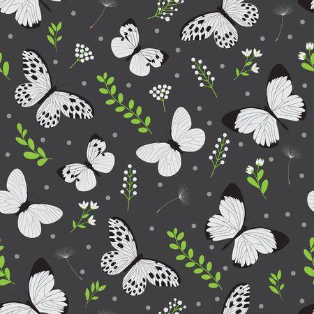 white butterfly seamless vector pattern Vettoriali