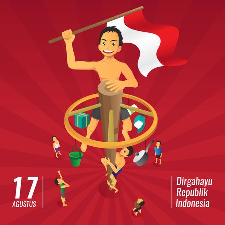 Indonesia independence day games, panjat pinang, pole climbing