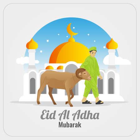Eid al Adha Mubarak greetings card with boy carrying goat Vettoriali