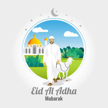 Eid al Adha Mubarak Vector Background with man carrying goat Vetores