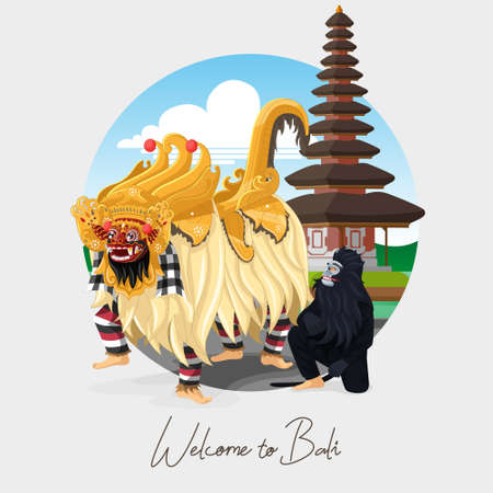 Welcome to Bali greeting card with Balinese barong dance