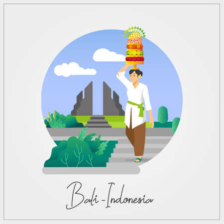 Flat Vector Of Balinese Woman carrying offering on Galungan ceremony Vettoriali