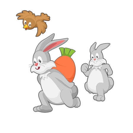 running rabbit character carrying giant carrot
