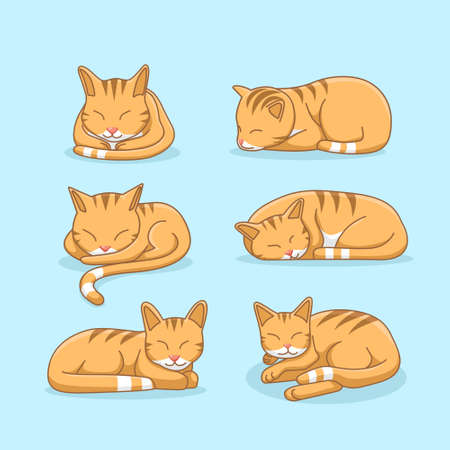 Sleepy ginger cat illustration set