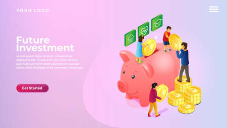 isometric piggy bank saving money and coins concept for website and mobile apps landing page