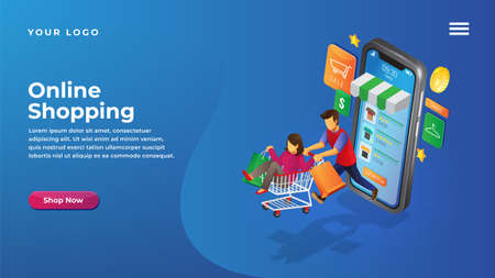 Isometric online shop concept for website and mobile apps landing page