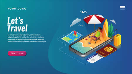 Isometric holiday planning by smart phone concept for website and mobile apps landing page