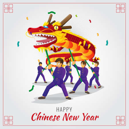 Chinese new year red dragon dance illustration