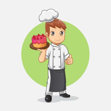 Cute cartoon chef carrying strawberry cake Vettoriali