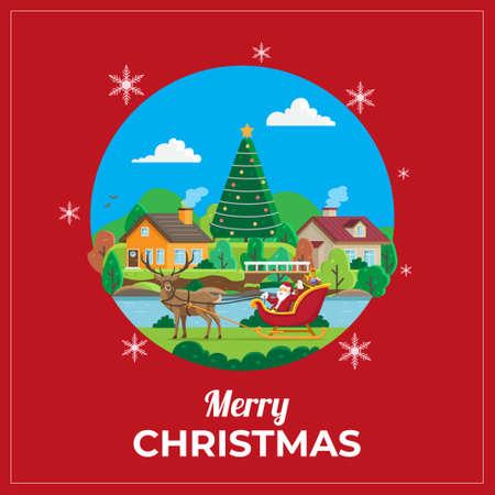 Christmas Greetings Card with santa & reindeer