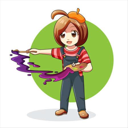 Cute cartoon Female painter Vettoriali