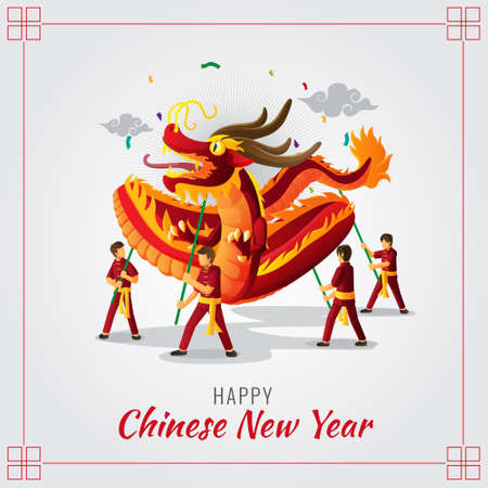 Chinese New Year Greeting card with dragon dance illustration
