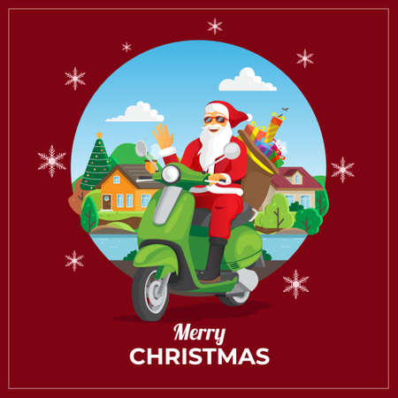 Christmas greeting card with santa ride scooter Vettoriali