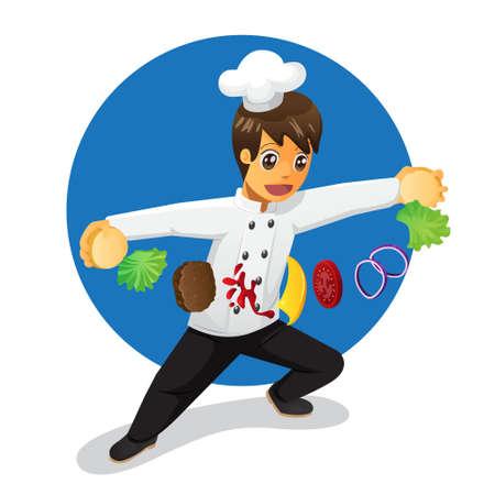 Cute cartoon male chef preparing burger
