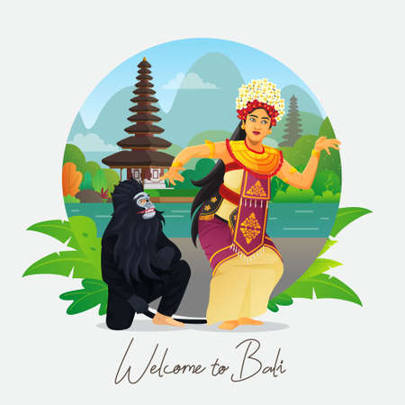 Welcome to Bali greeting card with balinese dancer
