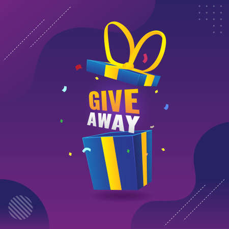 give away poster template for social media post with blue gift
